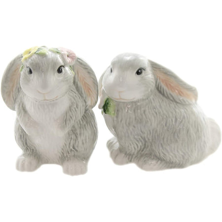 two gray and white bunny shaped salt and pepper shakers.