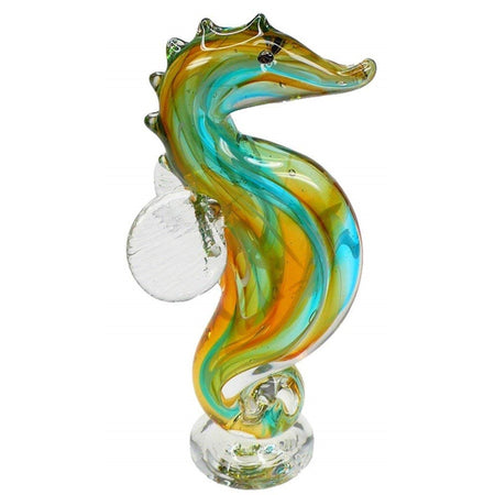 Seahorse figure in clear with gold and blue swirling strands under.