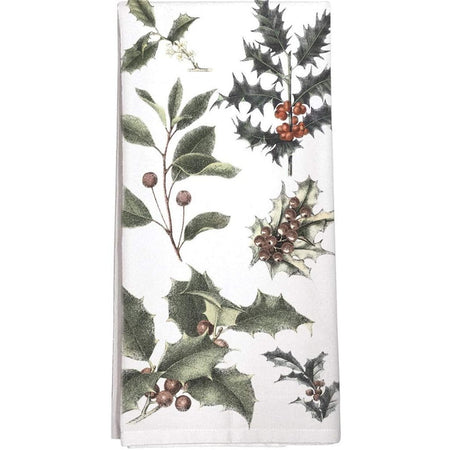 white towel with green & red holly & leaves