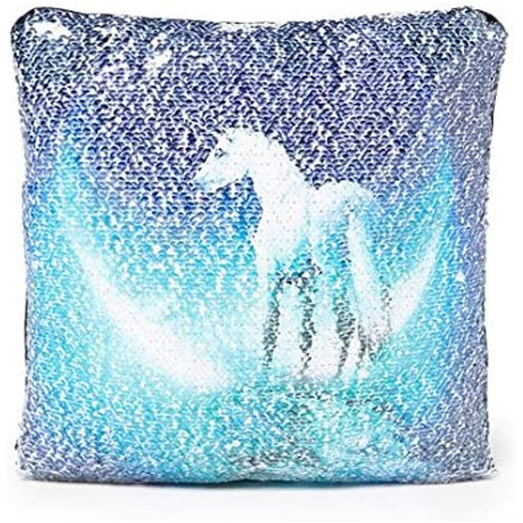 sequined pillow with unicorn design.