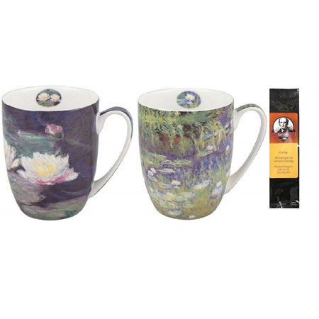 2 mugs & a black package of 6 teabags. Both mugs show variations of Monet Water Lilies paintings.