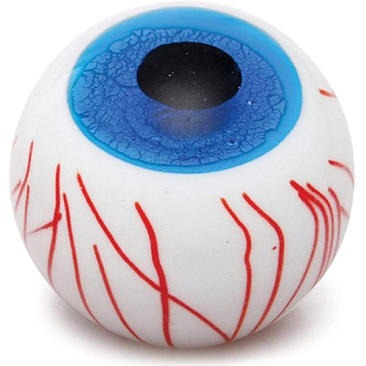 Glass eyeball paperweight with a bright blue iris and red vein pattern,