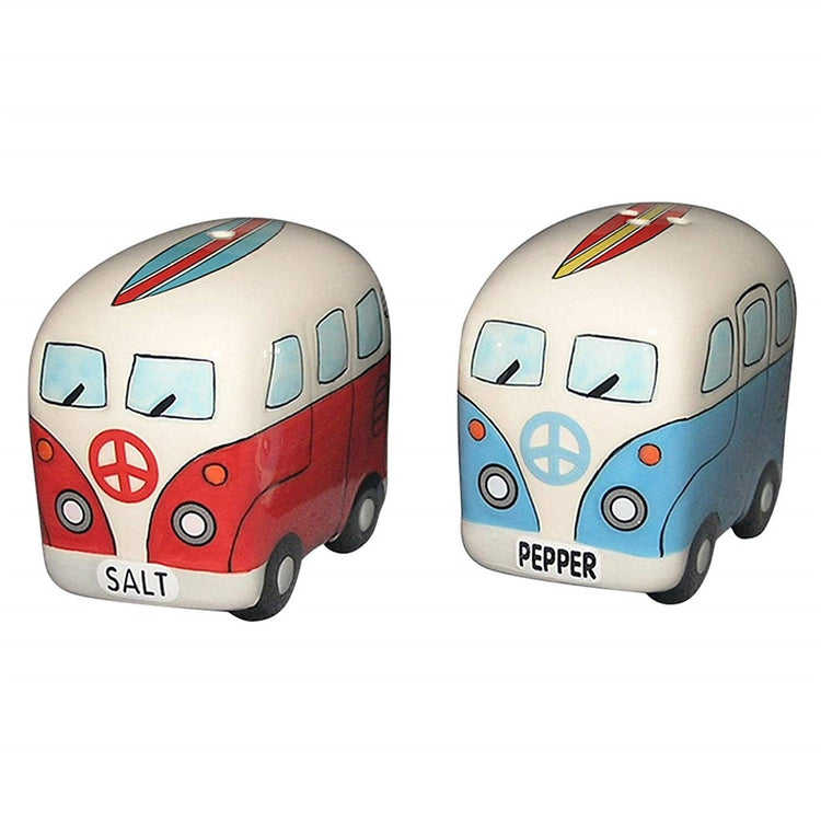"Van shaped salt and pepper.  One van is red and one is blue.  Text on front is ""SALT"" and ""PEPPER""."