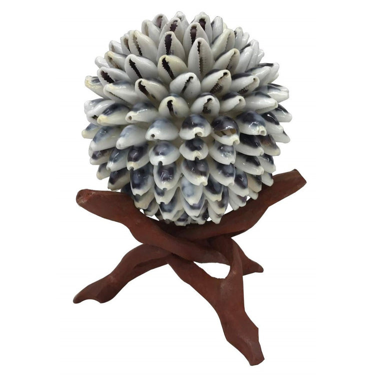 Cowrie Shell Ball on wood Cobra Stand