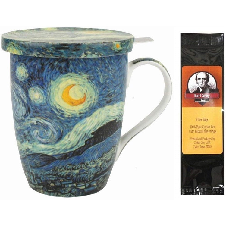 Tea cup with lid and infuser imprinted with Van Gogh's Starry Night.  Earl Grey tea package.