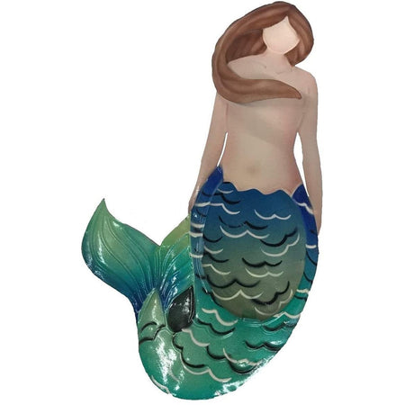 Mermaid with brown hair, green & blue tail.