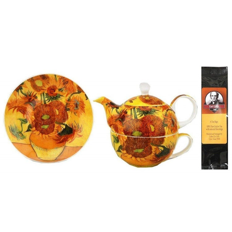 Tea for one and saucer imprinted with Van Gogh's Sunflowers.  Earl Grey tea package.