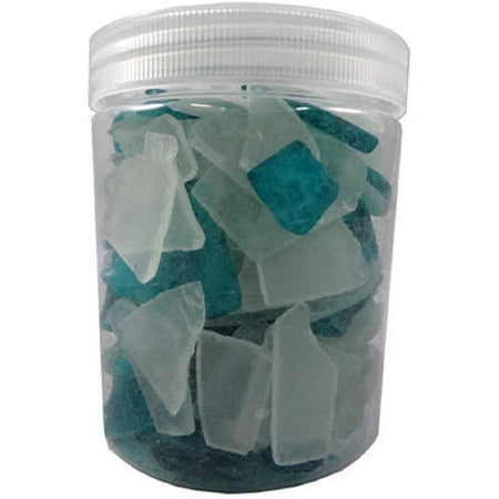 clear jar full of pieces blue and white faux seaglass