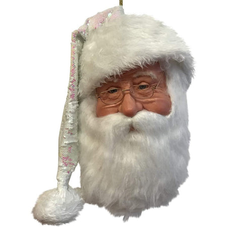 Bearded Santa head with a white & pink Santa hat and glasses