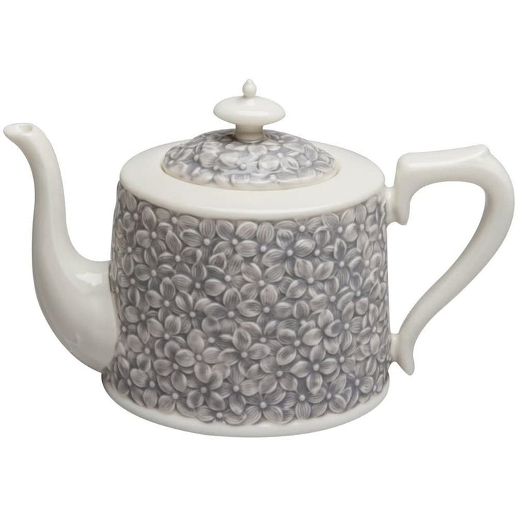 White teapot with grey flowers all over it.