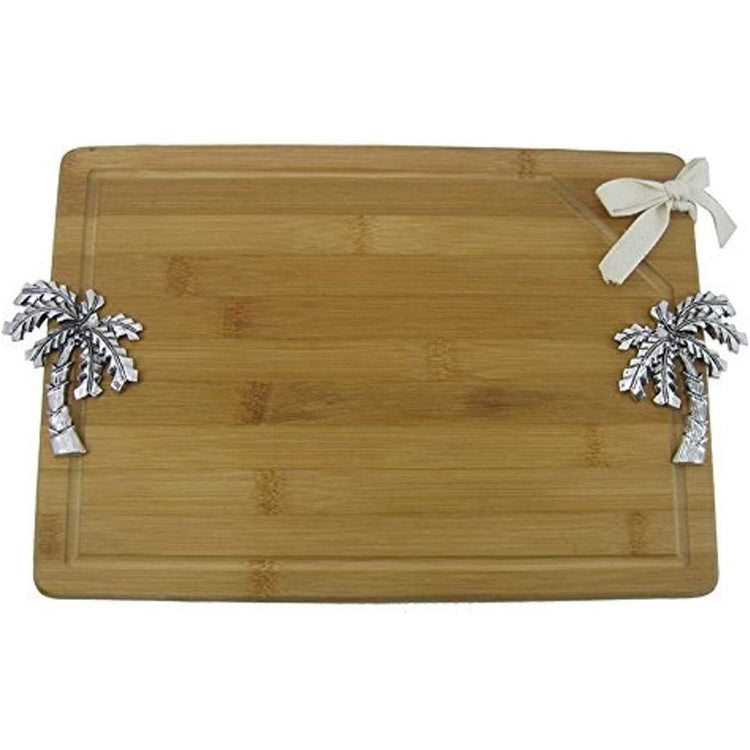 Bamboo cutting board with silver icons on each side.
