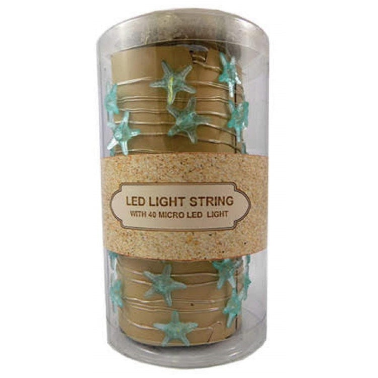 Battery Operated LED String Light, 40 Micro Teal Starfish, 13 Feet