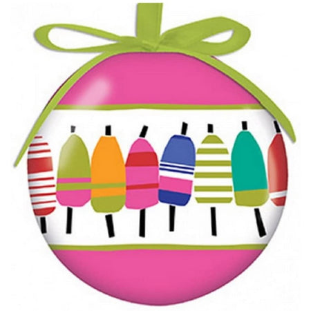round ornament with pink stripes on the top & bottom, middle stripe is white with multicolor buoys & hangs by a green ribbon.
