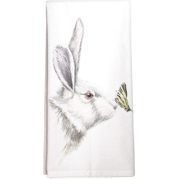 white towel with a white and gray rabbit design and yellow and black butterfly.