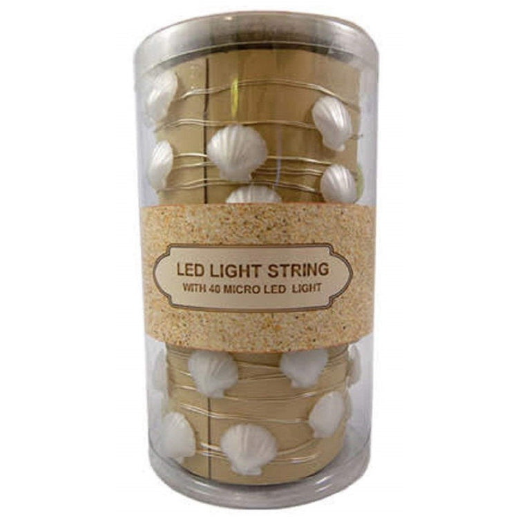 Battery Operated LED String Light, 40 Micro White Shells, 13 Feet