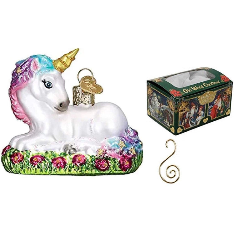 White unicorn with blue, pink, purple, & gold hair & horn.