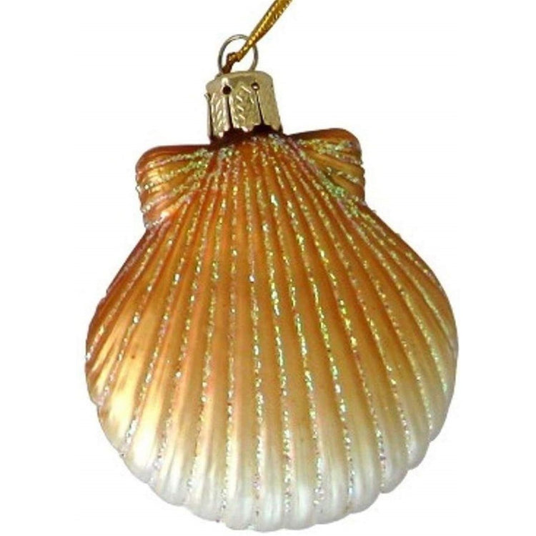 Pectin shell shaped Christmas ornament with glitter accent.  Shade of orange tan faces to white.