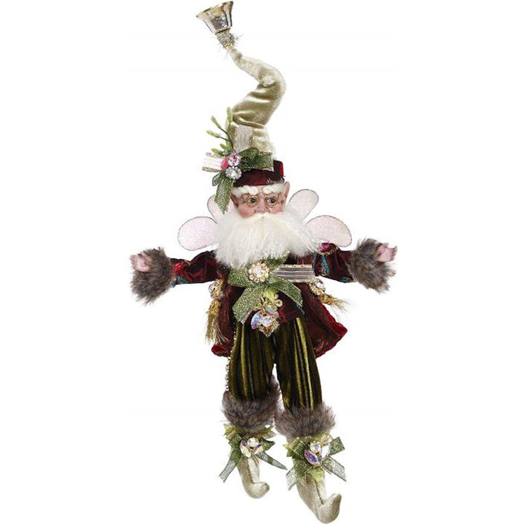 Male fairy figure with wings wearing red and green with tall pointy hat with bell on end.