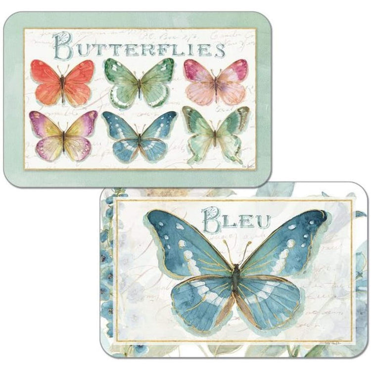 Blue butterfly on 1 side, and rainbow butterflies on the other side.
