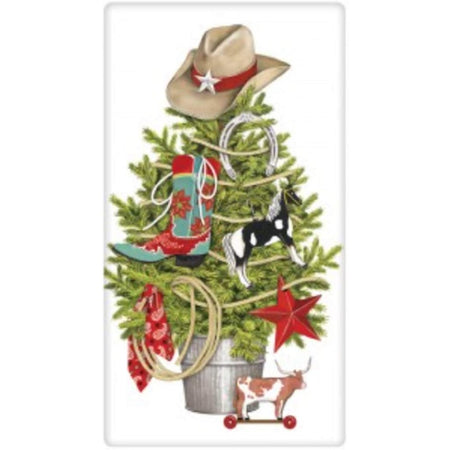 Evergreen tree with a boot, hat, horse, bandanna, rope, & cow on it.