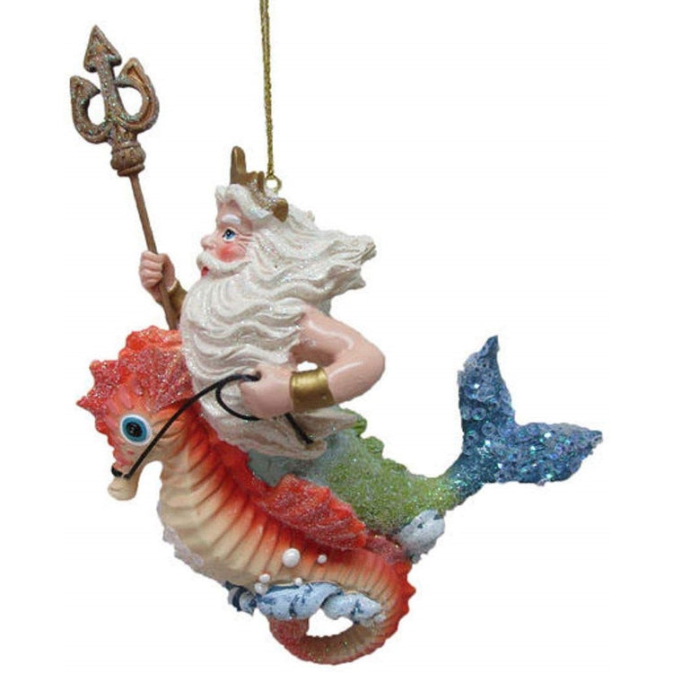 Figurine ornament, King Neptune riding a seahorse holding a trident.