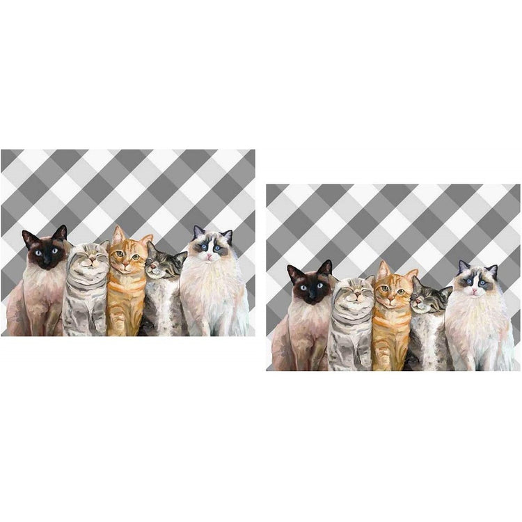 2 grey and white checked placemats showing 5 cats of different breeds and colors.