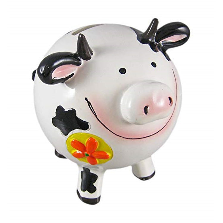 Round smiling black & white cow bank, with orange & yellow flower on shoulder.