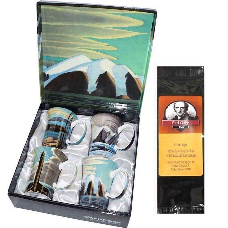 4 mugs in a gift box & a black package of tea bags. Box and mugs all show art by Lawren S. Harris.