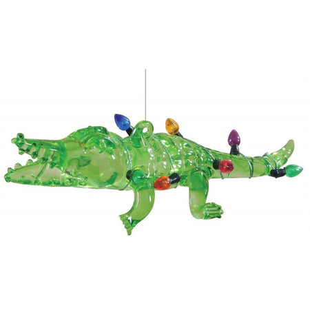 Clear green glass alligator bank wrapped in multi color bulb light string. hanger is on back of alligator.