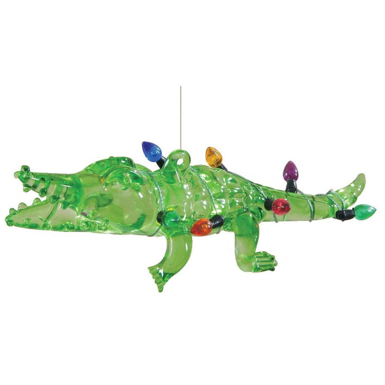 Glass Alligator Hanging Ornament with Holiday Lights