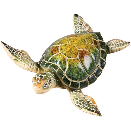 Swimming turtle with green, yellow, & tan hues.