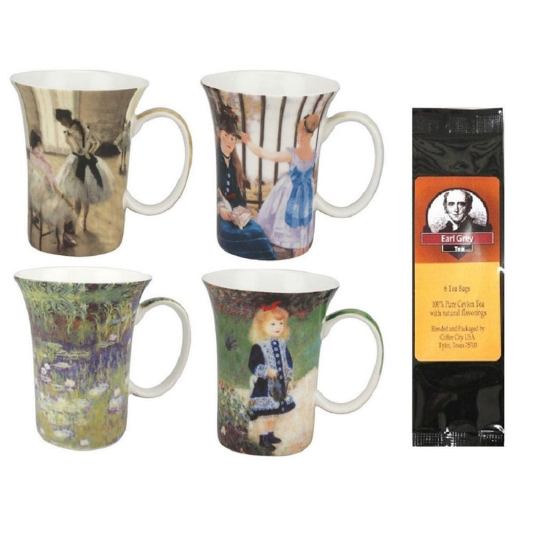4 mugs with a black package of tea bags. Each mug shows art from famous artist in the impressionist era.