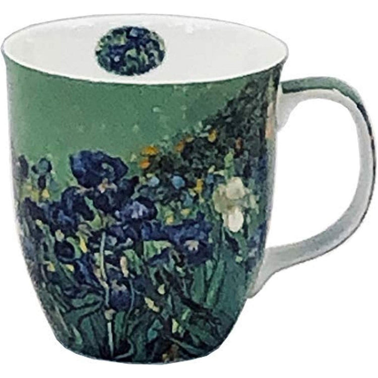 van gogh irises on a mug