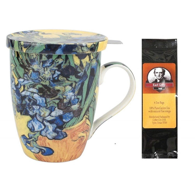 Teacup imprinted with Van Gogh's Irises. Earl Grey Tea package.