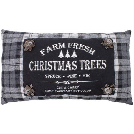 Wing Tai Farm Fresh Christmas Trees Fabric Throw Pillow with Jingle Bells