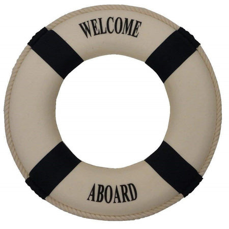 White life ring with 4 navy stripes and saying 'Welcome Aboard'.