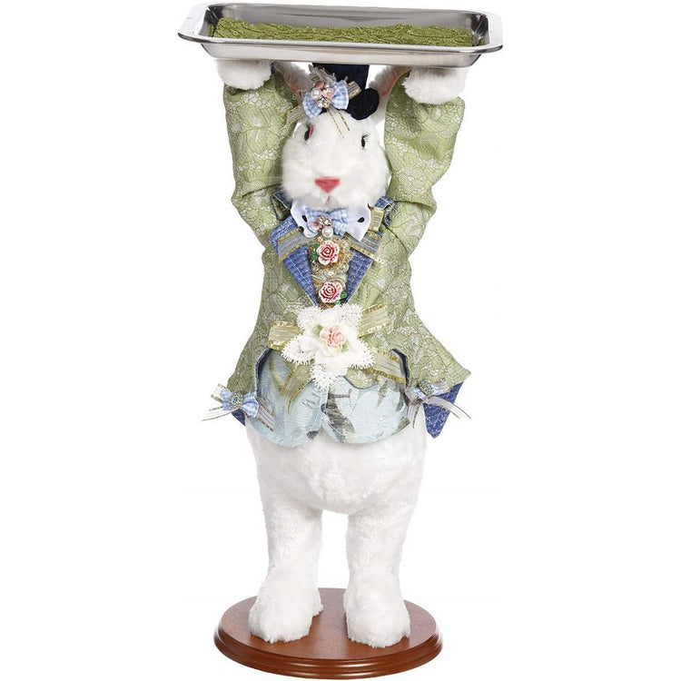 Standing bunny figure on stand holding a serving tray over heard.