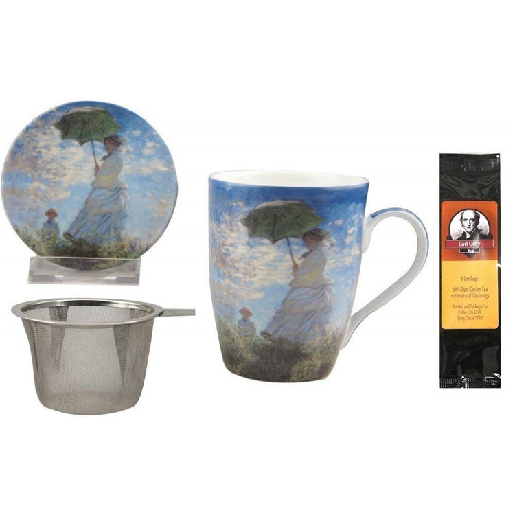 White tea cup with matching saucer imprinted with Monet's Women with Parasol, strainer and package of Earl Grey tea.