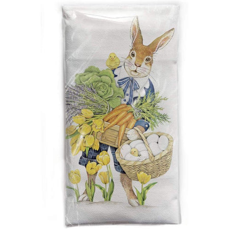 rabbit with flowers & carrots & eggs in a basket