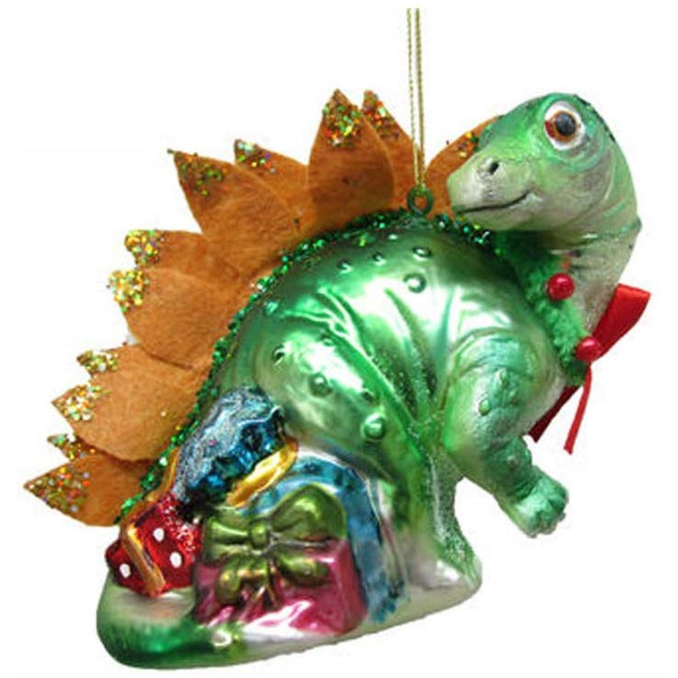 Dinosaur shaped hanging ornament with Christmas gifts and wearing a bow.
