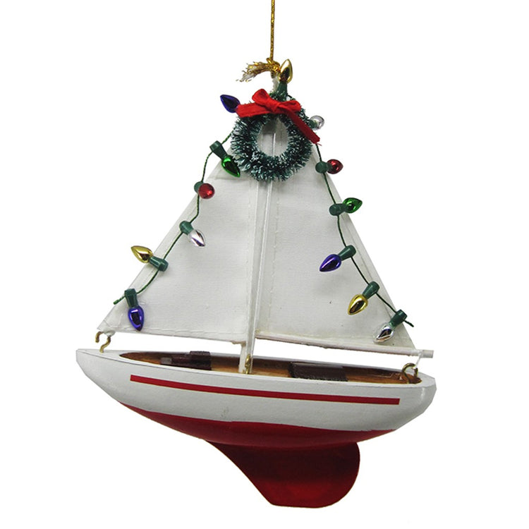 Sailboat Christmas Ornament with Faux Christmas Lights