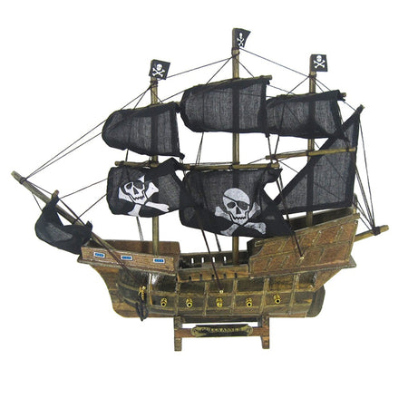 Wood brown pirate ship with black sails with white skull & crossbones.