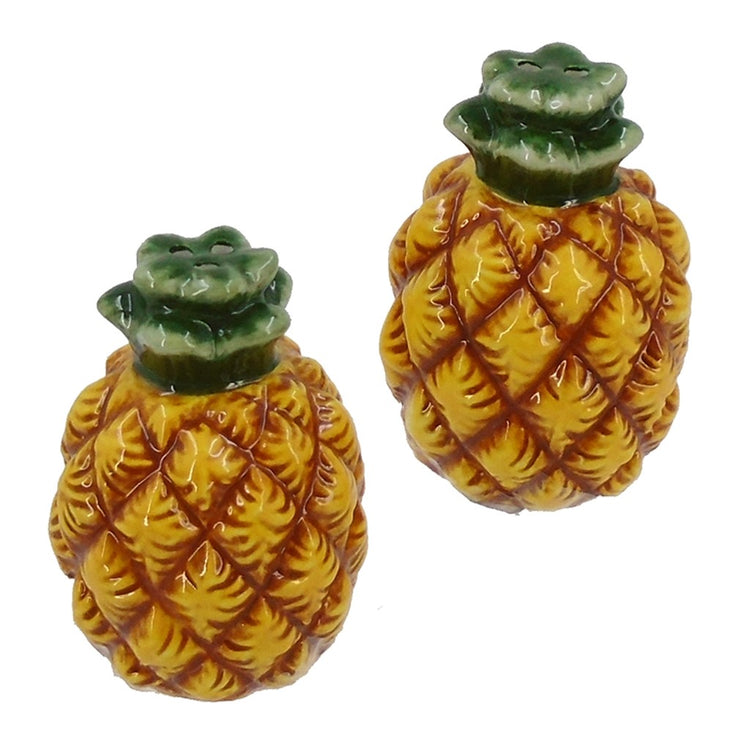 Yellow textured shakers with dark green leaves on top.