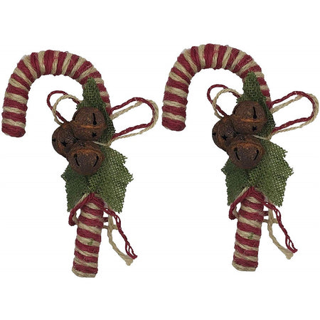 Burgundy and Natural Twine Peppermint Candy Cane Ornaments with Rustic Jingle Bells.