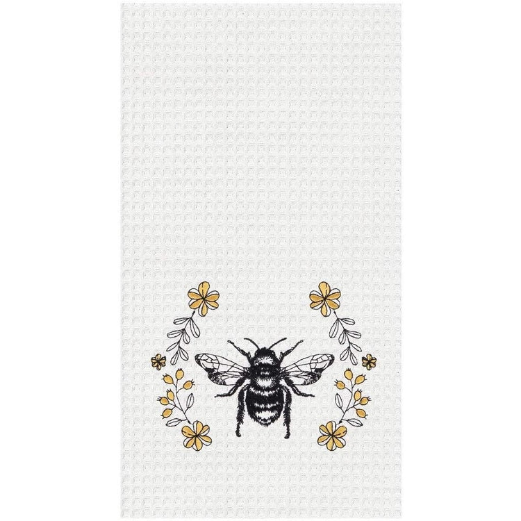 White kitchen towel with bumble bee and floral accent a