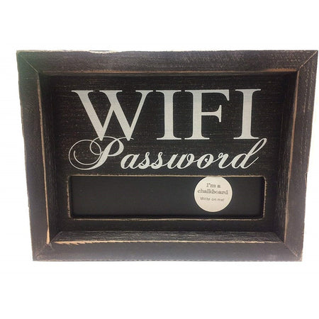 Black wooden sign that says 'WIFI Password' and a chalkboard area to write on it.