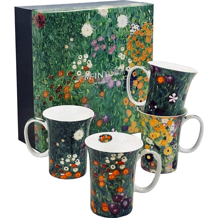 Gustav Klimt flower garden art mugs.