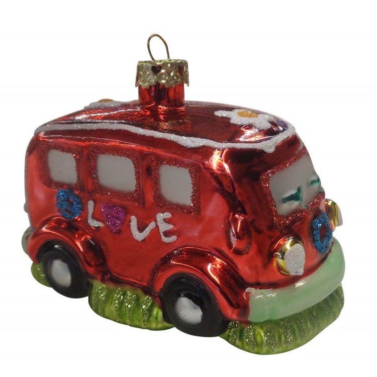 Van shaped Christmas ornament.  Red with glitter accent.  Says Love on side.