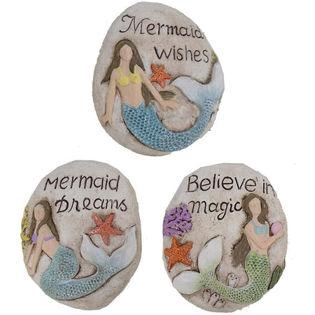 3 different mermaid stones that say 'mermaid wishes, believe in magic, mermaid dreams'. Multi-colored mermaid on each stone.