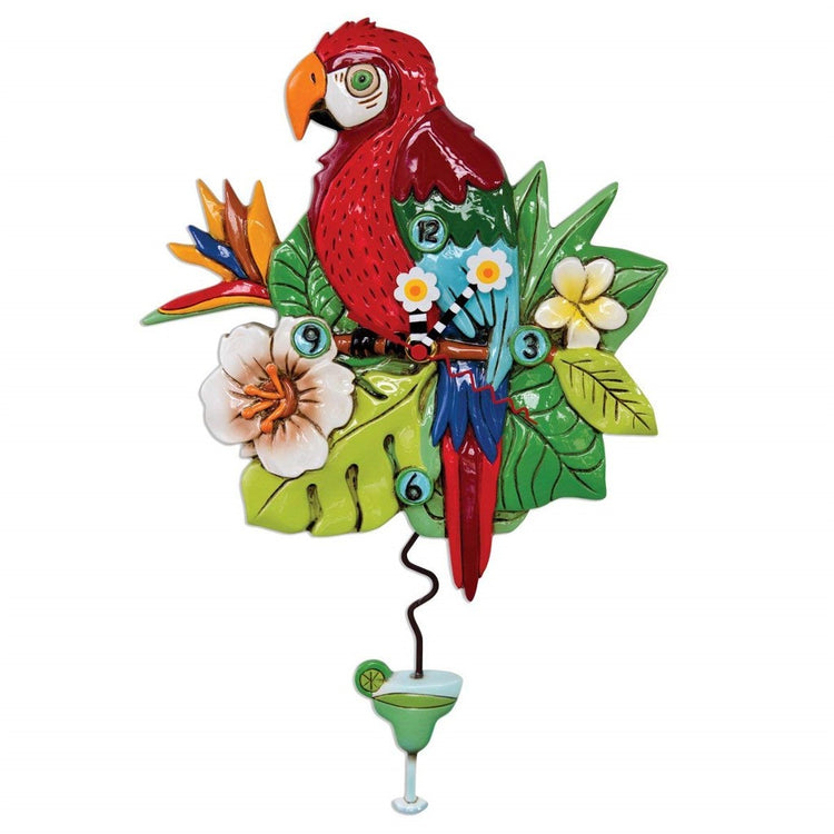 Red & blue parrot with green topical leaves, plants, & flowers.